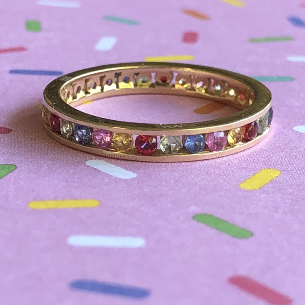 0.97CTW multicolor genuine gemstone stackable ring 14K yellow gold $829