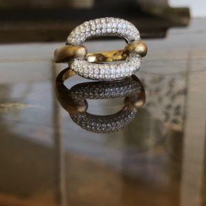 CZ / Gold Plated Silver - Love Link Ring  $119